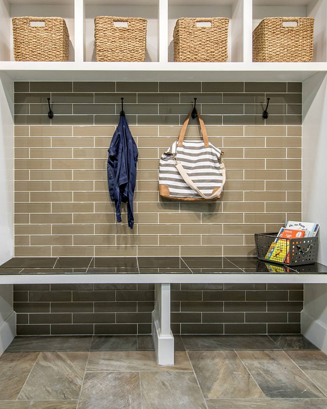 Mudroom Subway Tile Accent Wall. Adding a subway tile accent wall brings durability to your mudroom. A tiled wall is also easy to clean. Flooring and bench are also tiled for extra durability and low maintenance. #Mudroom #SubwayTile #TileAccentWall #Mudroomsubwaytile The Tile Shop via Instagram