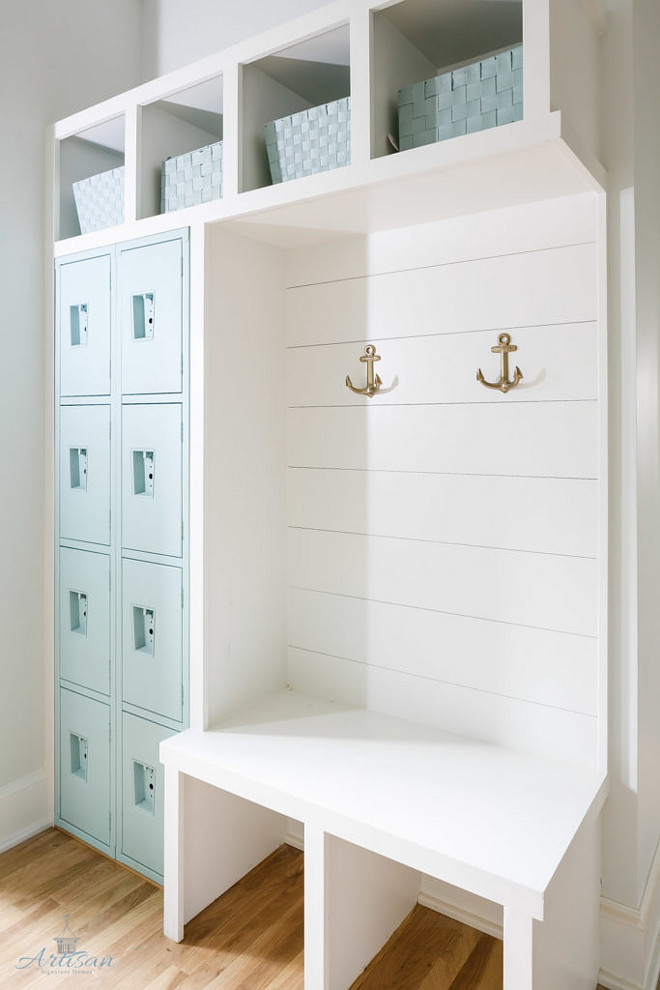 "Mudroom with turquoise lockers painted in ""Sherwin Williams Waterscape"". Mudroom locker painted in Sherwin Williams Waterscape. Mudroom with turquoise lockers painted in ""Sherwin Williams Waterscape"". #SherwinWilliamsWaterscape"