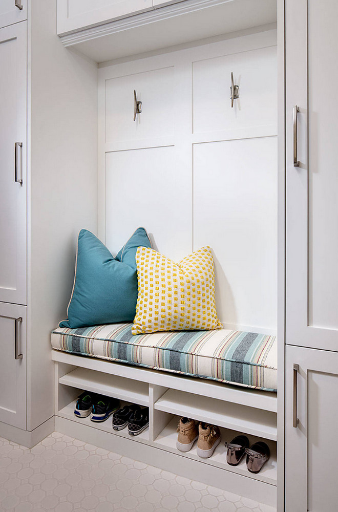 Mudroom with bench between cubbies. Mudroom with bench between cubbies. #Mudroom #bench #mudroombench #cubbies Tracy Lynn Studio.