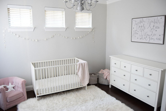Neutral Grey Nursery. I wanted a soft airy space for the nursery and kept with the twinkle theme! Neutral Grey Nursery #NeutralGreyNursery #GreyNursery #NeutralNursery Pillow Thought Home