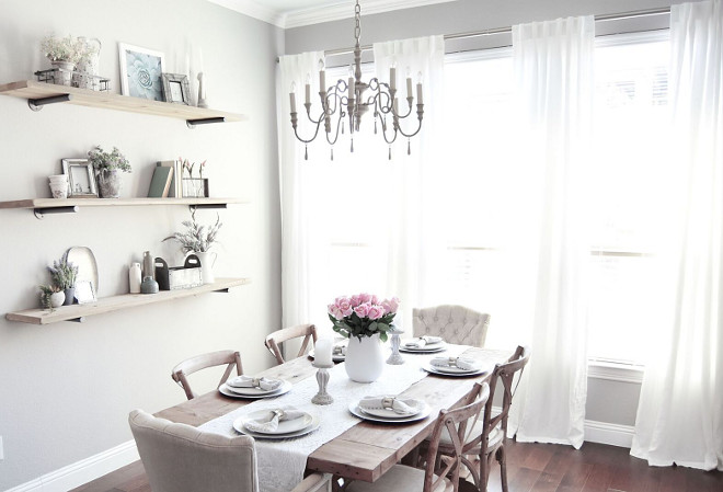Neutral Pale Grey Farmhouse Dining room. Pale Grey Farmhouse Dining room. I gravitate towards the style of Restoration Hardware so I pulled most of my inspiration for this room from their spaces! Shelves, Table & Chairs: Restoration Hardware. Chandelier: Restoration Hardware Baby & Child. Neutral Pale Grey Farmhouse Dining room #NeutralPaleGreyFarmhouseDiningroom #FarmhouseDiningroom #Farmhouse #Diningroom #NeutralGrey #PaleGrey Pillow Thought