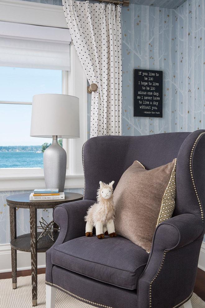 Nursery Chair. Nursery Chair Fabric. Nursery Chair and wall decor. Nursery Chair Ideas. Nursery Chair #NurseryChair Martha O'Hara Interiors
