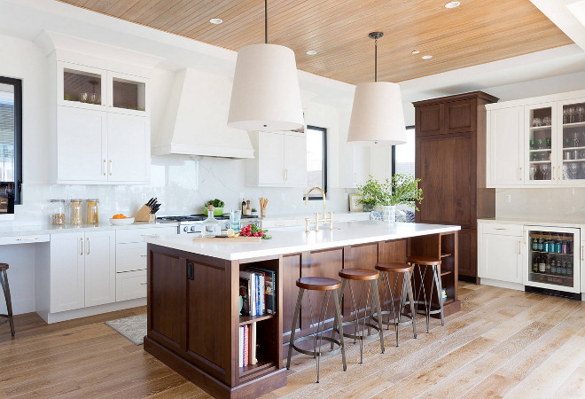 Oversized Drum Light Fixtures. Kitchen features a pair of Oversized Drum Light Fixtures. #OversizedDrumLightFixtures Denton Developments. Amy Bartlam Photography