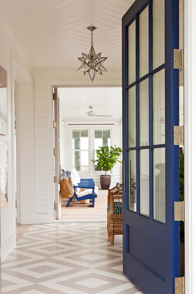 Painted Floors. Coastal entry with blue front door and painted wood floors. Painted wood floor design. Painted floors. Diamond Painted Floors #PaintedFloors #Coastalentry #bluefrontdoor #paintedwoodfloors #Paintedwoodfloordesign #Paintedflooring. #DiamondPaintedFloors Beau Clowney Architects. Jenny Keenan Design