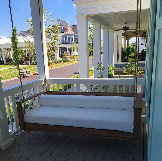 Porch Swing. Porch Swing with Rope. #PorchSwing Artisan Signature Homes.  Interiors by Gretchen Black.
