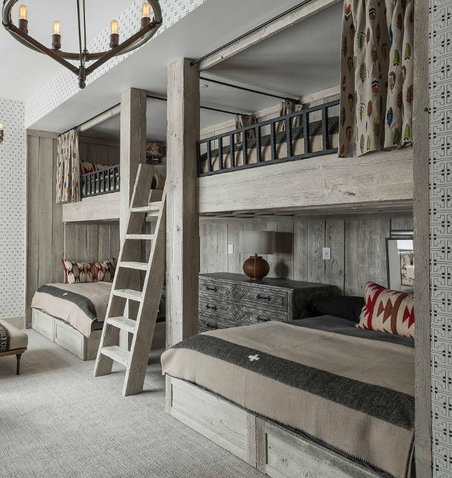 Rustic Bunk Room with Reclaimed Whitewashed Wood Bunk Beds. Rustic Bunk Room with Reclaimed Whitewashed Wood Bunk Beds #RusticBunkRoom #BunkRoom #ReclaimedWoodBunkbeds #WhitewashedWoodBunkBeds #WhitewashedWood #BunkBeds Locati Architects
