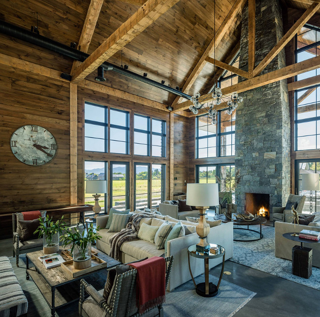 Rustic barn with barnwood shiplap, black pane glass sliding doors and concrete floors. #Rusticbarn #barn #rustic #rusticinteriors #barnwoodshiplap #shiplap #concretefloors Roundtree Construction. TruexCullins Architecture + Interior Design