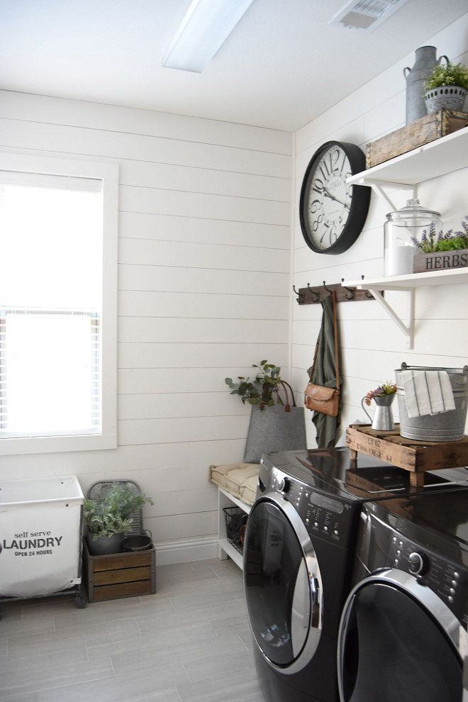 Shiplap Farmhouse Laundry Room. Farmhouse Shiplap Laundry Room Ideas. This farmhouse laundry room features shiplap on walls and open shelves. Shiplap Laundry Room #ShiplapLaundryRoom #FarmhouseShiplapLaundryRoom #Farmhouse #Farmhouselaundryroom #Farmhouseshiplap Pillow Thought Home