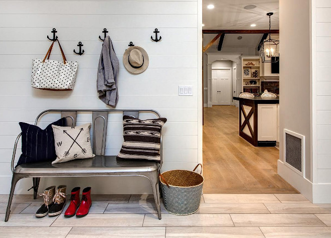 Shiplap Mudroom off kitchen. Shiplap Mudroom off kitchen with ceramic floor tile. Shiplap Mudroom off kitchen #Shiplap #Mudroom Timberidge Custom Homes