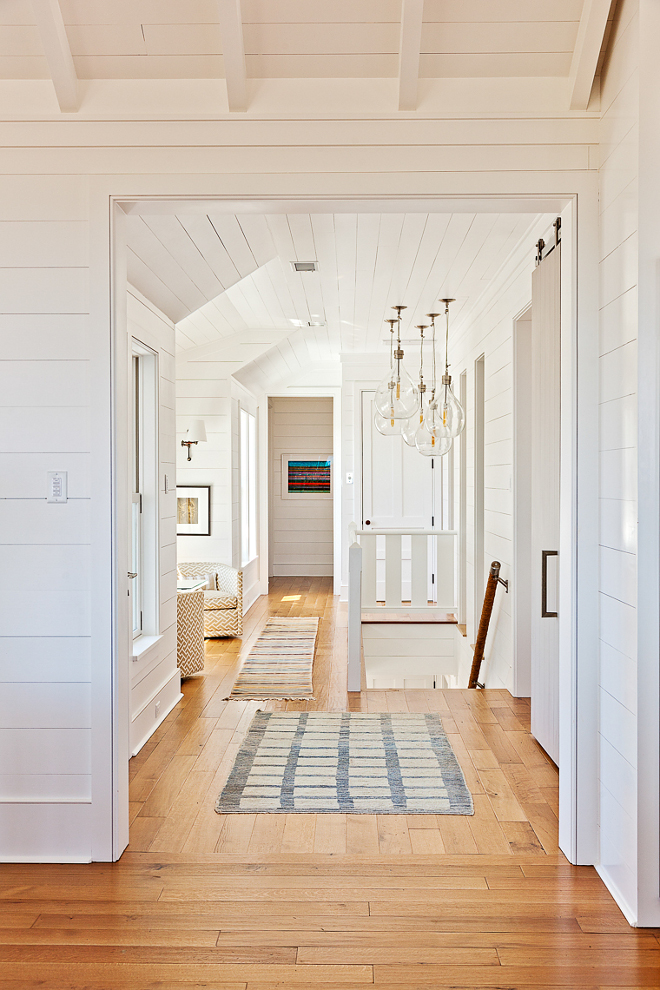 "Shiplap walls and Engineered 6"" White Oak Hardwood Floors with a camel colored finish. #Shiplap #Shiplapwalls #Engineered6""WhiteOakHardwoodFloors #6""WhiteOakHardwood #WhiteOakHardwood Beau Clowney Architects. Jenny Keenan Design"
