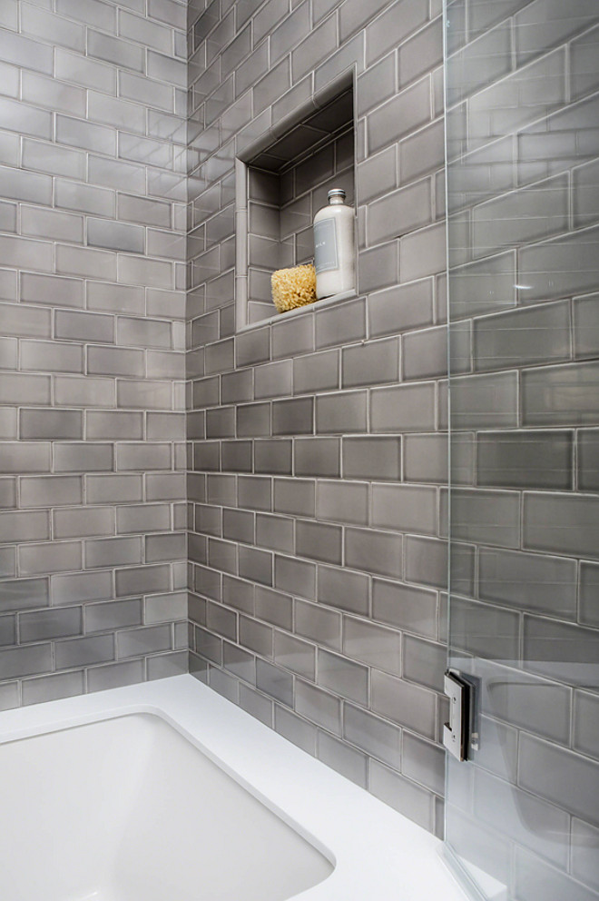 Small Bathroom Tile. The tile installed in this bath was Sonoma Tilemaker's Stellar Collection and the color is Quicksilver Grey. Small Bathroom Tile Ideas. Small Bathroom Tile. Small Bathroom Tile #SmallBathroomTile #SmallBathroomTileIdeas Robert Frank Interiors