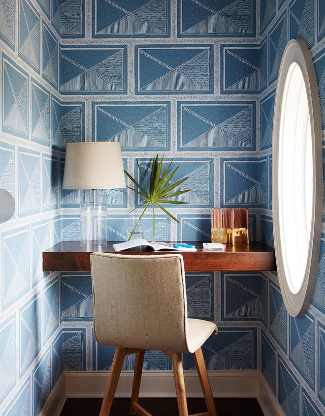 Small Home Office Nook with Built in Desk and Geometric Wallpaper. This nook features a built-in desk and a blue and white geometric wallpaper. The geometric wallpaper is by Romo. #SmallHomeOffice #OfficeNook #BuiltinDesk #GeometricWallpaper Andrew Howard Interior Design