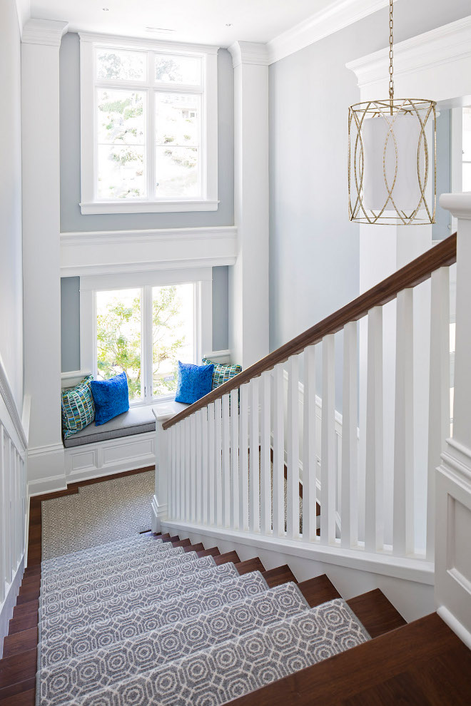 Stairway runner. Stairway features custom runner and window seat. Stairway runner. Stairway custom runner and window seat ideas. The stairway runner is Zb Lenz - Desert Night SKU: b05-dnit-bouc0216 by Stark. #Stairwayrunner #Stairway #runner #Stairwaywindowseat #windowseat Martha O'Hara Interiors