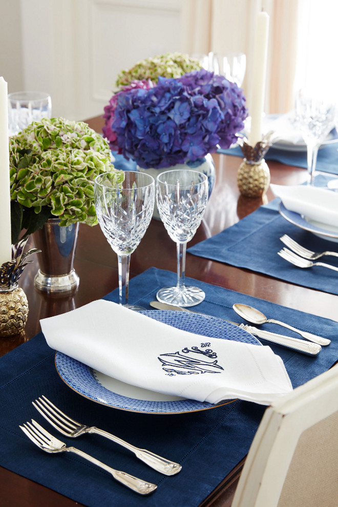 Traditional Table Setting. Traditional Table Setting. Blue and white Traditional Table Setting. #TraditionalTableSetting #BlueandwhiteTableSetting Andrew Howard Interior Design