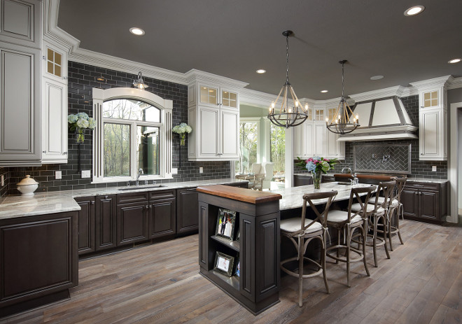 What A Gorgeous Modern Farmhouse Kitchen The Wall Color Here Is Sherwin Williams Acier Sw