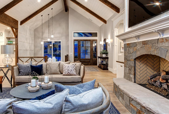Vaulted Living room Ceiling with shiplap and exposed beams. The vaulted ceiling features shiplap and exposed beams. Vaulted Living room Ceiling with shiplap and exposed beams. Vaulted Shiplap Ceiling. #VaultedCeiling #shiplapceiling #VaultedShiplapCeiling #exposedbeams Timberidge Custom Homes