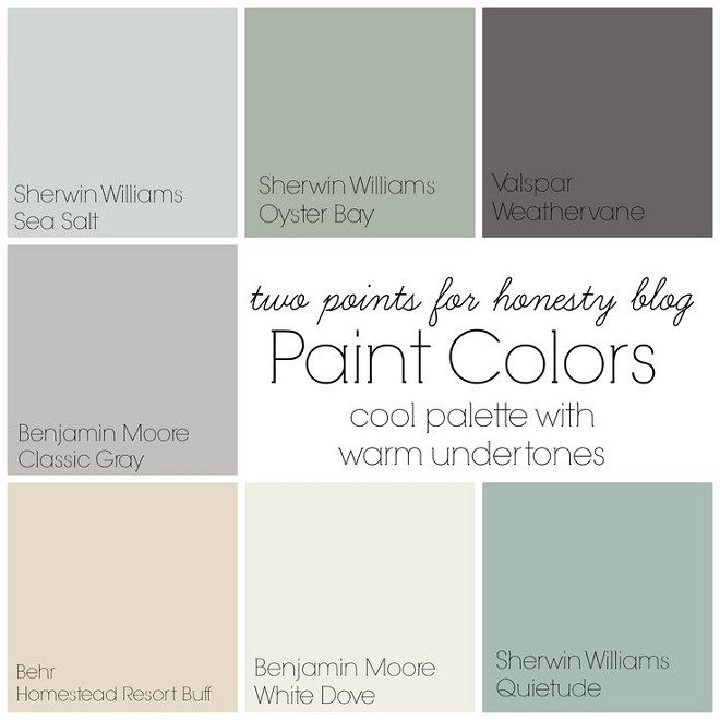 Cool Paint colors with warm undertone. Cool Paint colors with warm undertone. Sherwin Williams Sea Salt. Sherwin Williams Oyster Bay. Valspar Weathervane. Benjamin Moore Classic Gray. Behr Homestead Resort Buff. Benjamin Moore White Dove. Sherwin Williams Quietude. #WarmPaintColors #wholehouse #paintcolor