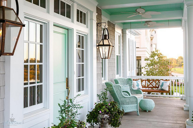 Waterscape by Sherwin Williams. Turquoise Front Door, Turquoise Ceiling Porch and Turquoise Porch Chairs are painted in Waterscape by Sherwin Williams #Turquoise #Turquoisepaintcolor #aquapaintcolor #WaterscapeSherwinWilliams #TurquoiseFrontDoor #TurquoiseCeilingPorch #TurquoisePorchChairs #WaterscapebySherwinWilliams Artisan Signature Homes.  Interiors by Gretchen Black.