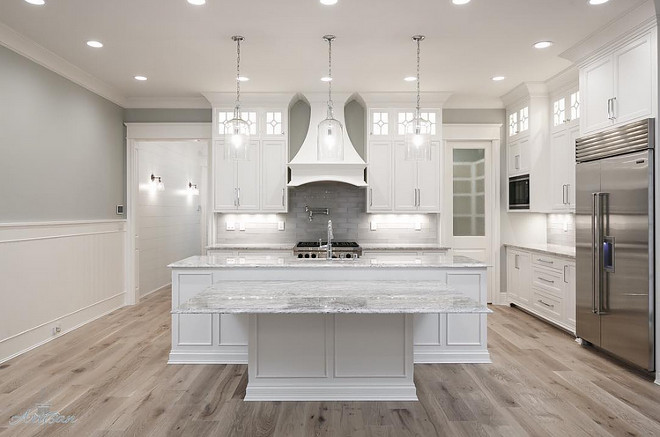 White Kitchen With Gray Walls And European Oak Hardwood Floor Bright