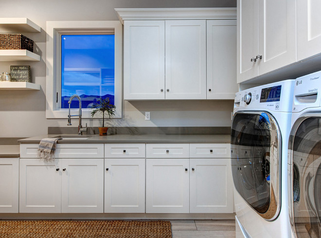 White Laundry cabinets painted in Sherwin Williams Alabaster. White Laundry cabinets painted in Sherwin Williams Alabaster #WhiteLaundrycabinet #paintcolor #SherwinWilliamsAlabaster Timberidge Custom Homes