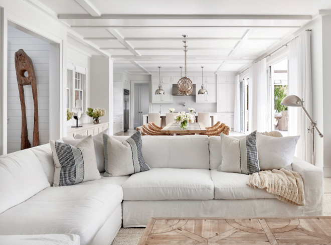 White Linen Sectional. Hamptons style living room with coffered ceiling, White Linen Sectional and sisal rug. #WhiteLinenSectional Chango & Co.