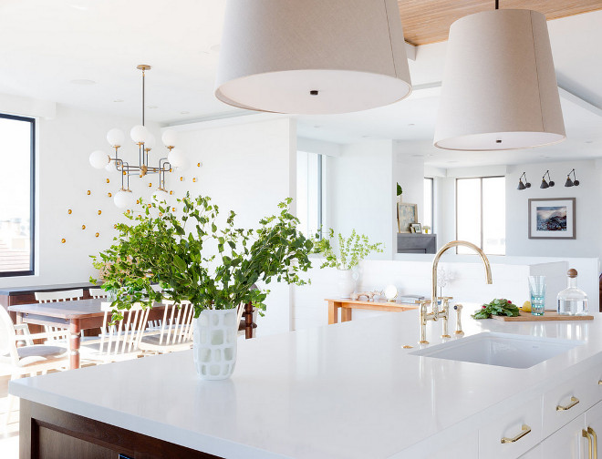 White Quartz Island Countertop White Quartz Kitchen Island Countertop. Countertop material is Walker Zanger Quartz. #WhiteQuartz #WhiteQuartzIslandCountertop #WhiteQuartzCountertop Denton Developments. Amy Bartlam Photography.