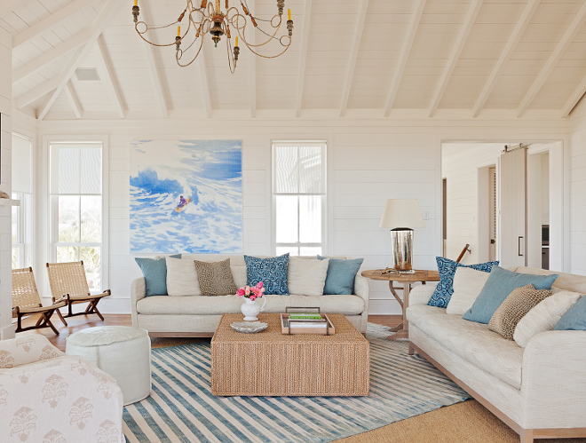 White living room with shiplap walls and vaulted shiplap ceiling. White living room with shiplap walls and vaulted shiplap ceiling #Whitelivingroom #shiplap #shiplapwalls #vaultedceiling #shiplapceiling Beau Clowney Architects. Jenny Keenan Design