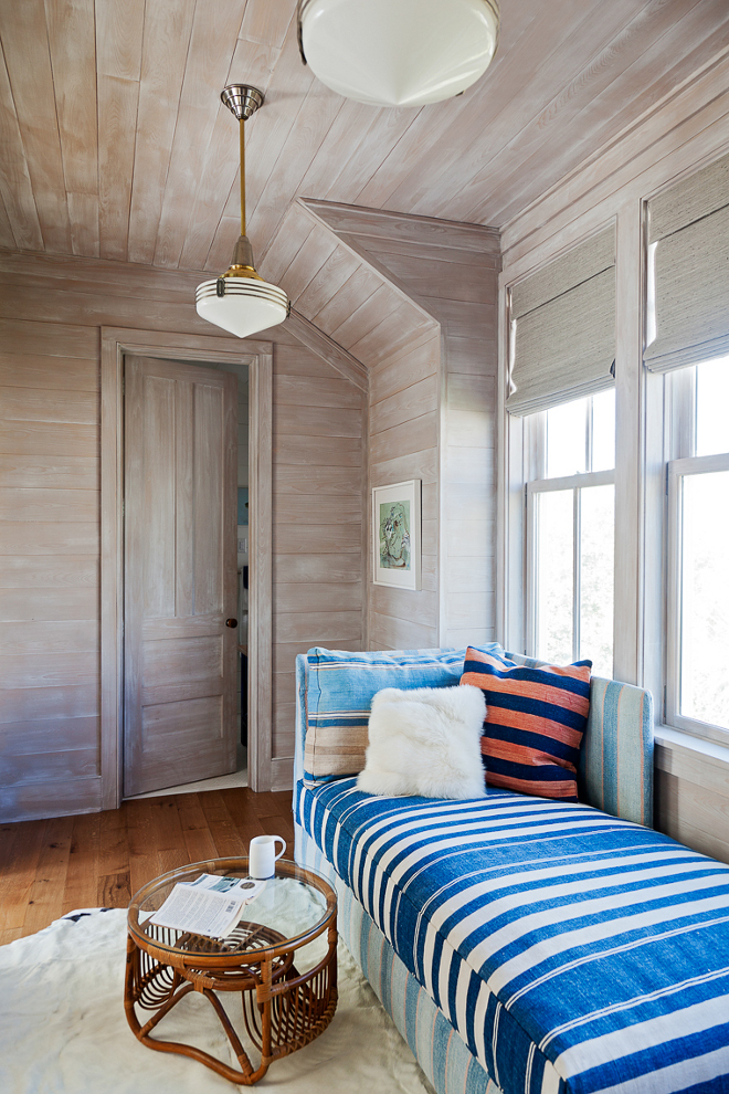 Whitewashed shiplap. Coastal home with Whitewashed shiplap. Home office/guestbedroom with whitewashed shiplap walls and ceiling.  Whitewashed shiplap #Whitewashedshiplap Beau Clowney Architects. Jenny Keenan Design