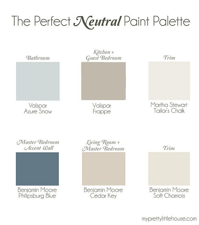 Whole House Neutral Color Palette. Whole House Neutral Paint Colors. Bathroom Paint Color Valspar Azure Snow. Kitchen and Bedroom Paint Color Valspar Frappe. Trim Piant Color Martha Stewart Tailor's Chalk. Master Bedroom Accent Wall Paint Color Benjamin Moore Philipsburg Blue. Living room Paint Color Benjamin Moore Cedar Key. Trim Paint Color Benjamin Moore Soft Chamois#WholeHouseNeutral #WholeHouseColorPalette #NeutralColorPalette