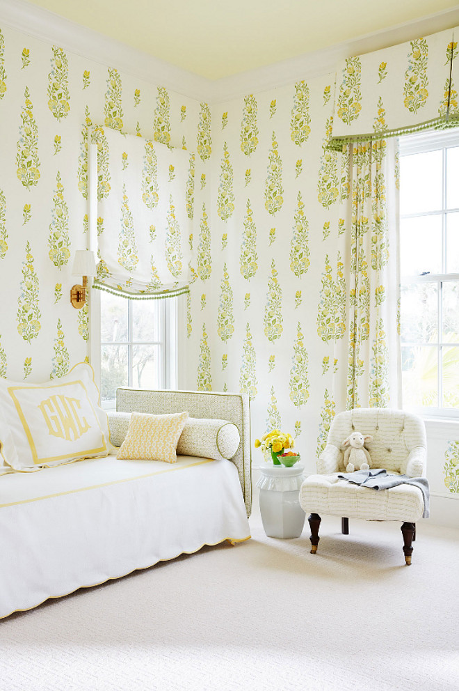 Yellow and Green Wallpaper. Yellow and Green Wallpaper Ideas #Yellowwallpaper #YellowGreenWallpaper Andrew Howard Interior Design