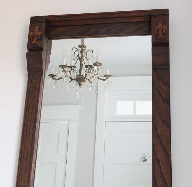 The mirror is a 1920's barber shop mirror that I refinished and re-mirrored. The chandelier is antique, found on ETSY.  Beautiful Homes of Instagram @greensprucedesigns