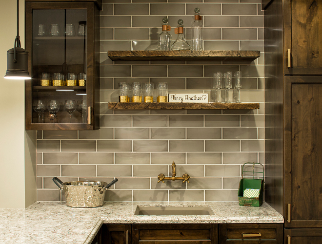 Bar Backsplash, Bar Backsplash and wall mounted faucet, Bar Backsplash #BarBacksplash #Bar #backsplash #wallmountedfaucet  Grace Hill Design