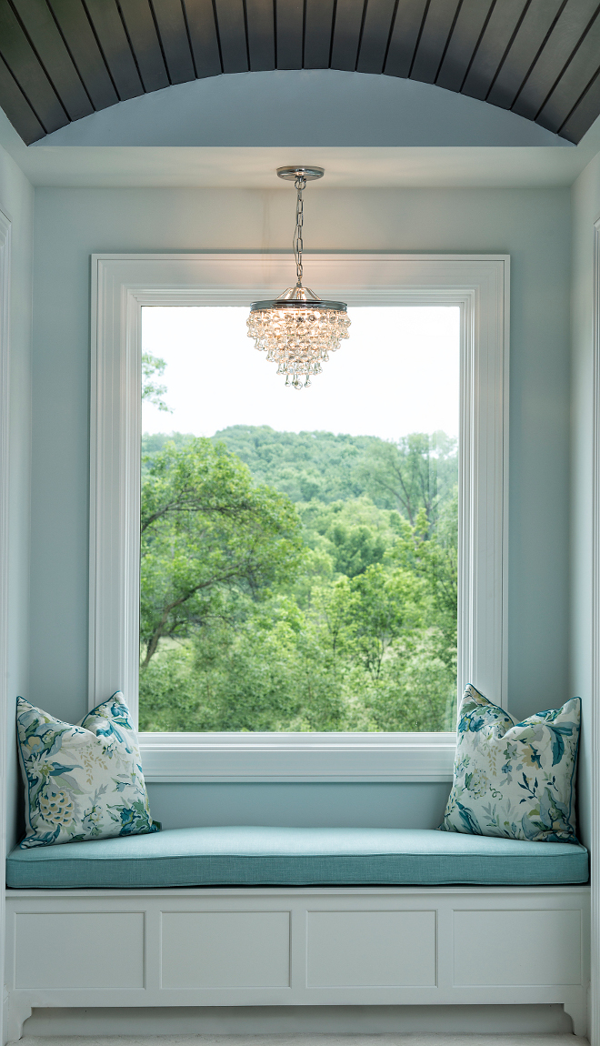 Barrel ceiling Window Seat, Master bedroom window seat with barrel ceiling, Lighting is from Crystorama #MasterBedroom #windowseat #barrelceiling #Crystorama Grace Hill Design
