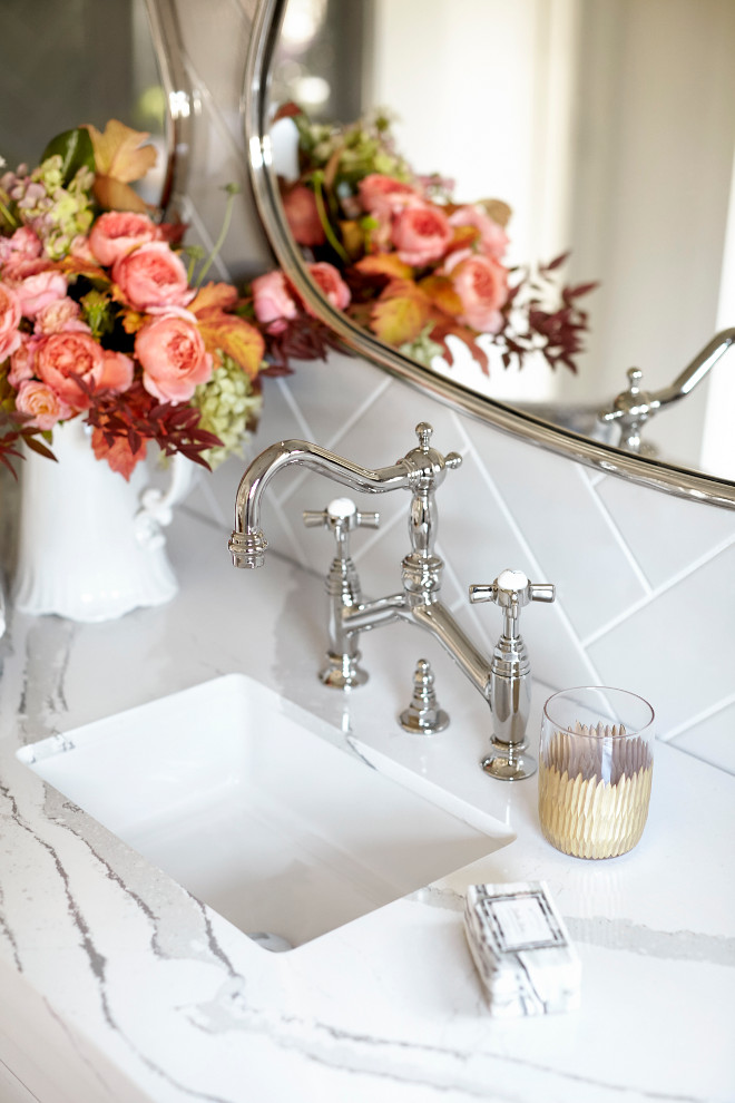 Bathroom Faucet, Bathroom Faucet Ideas, Polished Nickel Bathroom Faucet  #BathroomFaucet Kim Scodro Interiors