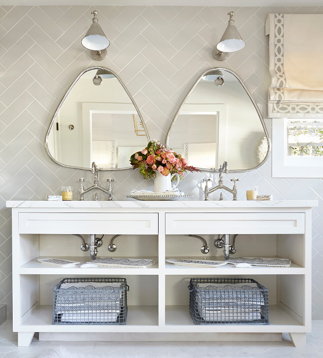 Bathroom Mirror, Bathroom Mirrors, Bathroom mirrors are Bella Oval Wall Mirror, Polished Nickel by Interlude #Bathroommirrors #Bathroommirror #BellaOvalWallMirror #Ovalmirror #PolishedNickelMirror #Interlude Kim Scodro Interiors. Michelle Drewes Photography