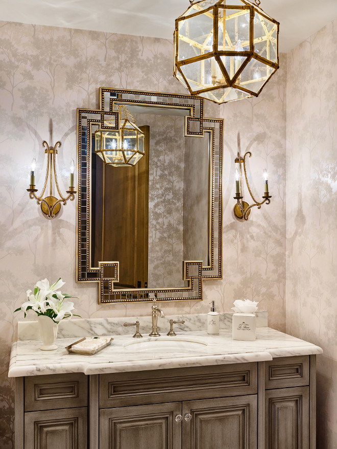 Bathroom pendant. Bathroom lighting. Suzanne Kasler Morris Lantern. Bathroom lighting is Morris Lantern #SuzanneKasler #MorrisLantern #Bathroomlighting #Bathroom #lighting #MorrisLantern Kim Scodro Interiors