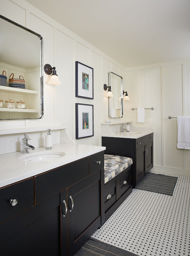 Bathroom with built in seat between vanities and board and batten wainscoting. Bathroom Ideas. Bathroom with built in seat between vanities and board and batten waisncoting #Bathroom #Bathroomseat #bathroomideas #builtinseat #vanities #boardandbatten #wainscoting Dwellings