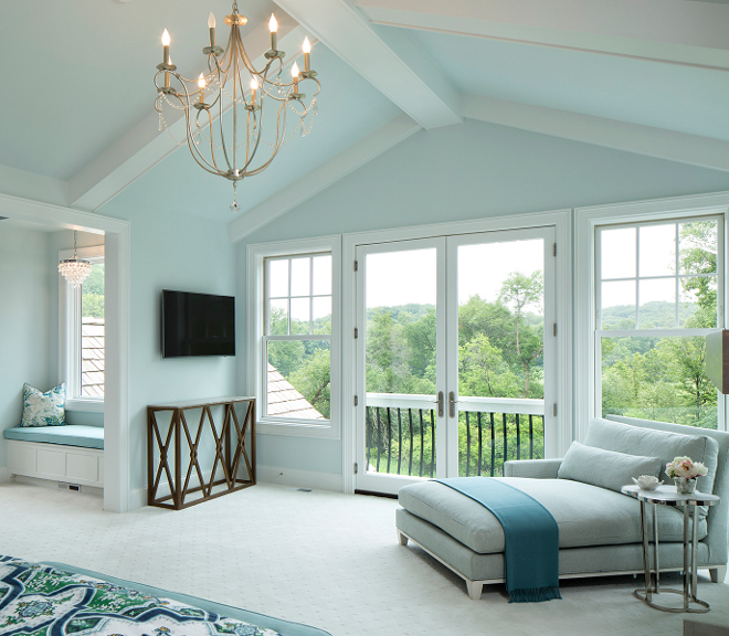 Bedroom Chandelier. Soothing light blue bedroom with silver leaf finish and Crystal Chandelier, Chandelier is Currey and Company 9890 Crystal - Six Light Small Chandelier, Silver Leaf Finish #CurreyandCo #CurreyandCompany #CrystalSixLightSmallChandelier #SilverLeaf #Chandelier Grace Hill Design