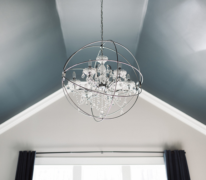 "Bedroom Lighting. Orb Chandelier. Bedroom orb chandelier. Bedroom chandelier is Warehouse of Tiffany - Saturn's Ring 32"" orb chandelier #bedroom #chandelier #orbchandelier Beautiful Homes of Instagram @thegraycottage"