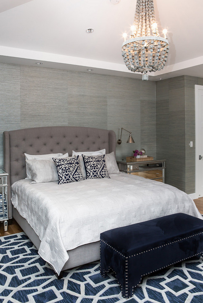 Bedroom, Master Bedroom, Bedroom grasscloth, bedroom rug, bedroom lighting, bedroom dresser Rug is Safavieh, Chandelier is Currey & Company and mirrored chests are from Worlds Away #Bedroom #MasterBedroom #Bedroomgrasscloth #bedroomrug #bedroomlighting #bedroomdresser A.S.D. Interiors