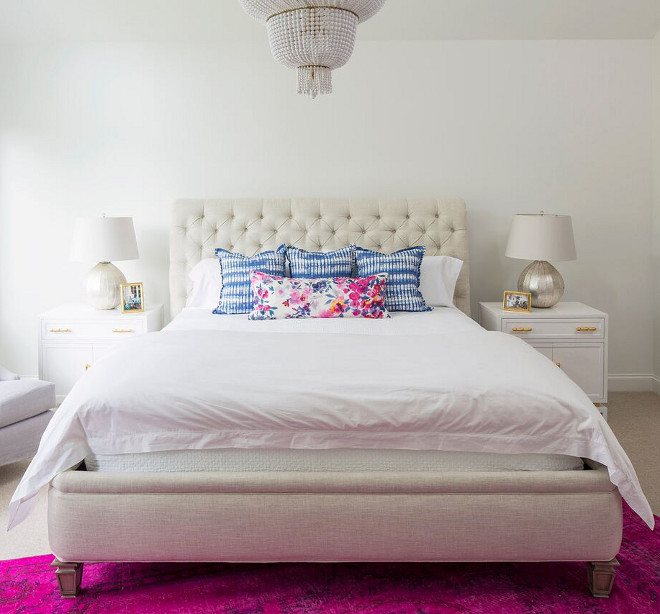 "Bedroom Pillows. Bedroom Pillow Ideas. Long pillow covered in ""Fancy Flower"" fabric #bedroom #pillows #bedroompillows #fancyflower #fabric Martha O'Hara Interiors. John Kraemer & Sons"