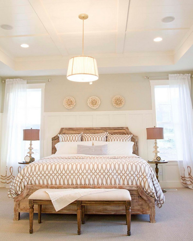 Bedroom Tray Ceiling, Similar wall paint color is Repose Gray SW 7015 by Sherwin Williams. Bedroom Tray Ceiling Ideas. Bedroom Tray Ceiling. Bedroom features a custom tray ceiling #BedroomTrayCeiling #Bedroom #TrayCeiling