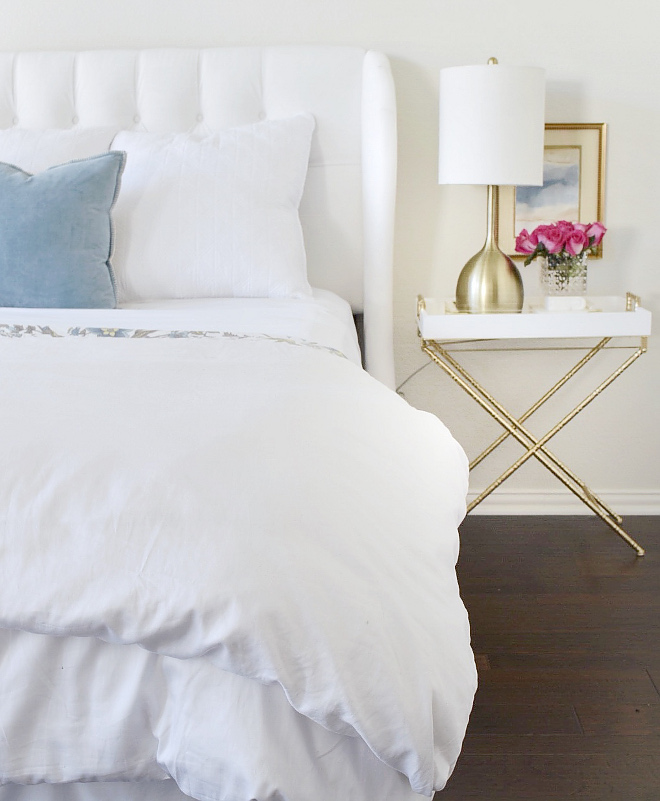 Bedroom decor, Bedroom decorating ideas, Simple and beautiful bedroom decor White sheets and duvet are from Overstock #bedroom #decor #bedroomdecor Beautiful Homes of Instagram @thriftyniftynest