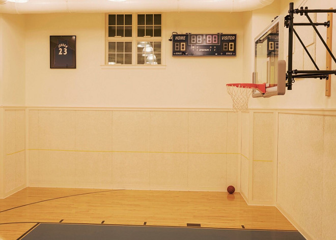 Benjamin Moore OC-93 Sugar Cookie. Paint in basketball court is Benjamin Moore OC-93 Sugar Cookie #BenjaminMooreOC93SugarCookie Home Bunch's Beautiful Homes of Instagram @loveyourperch