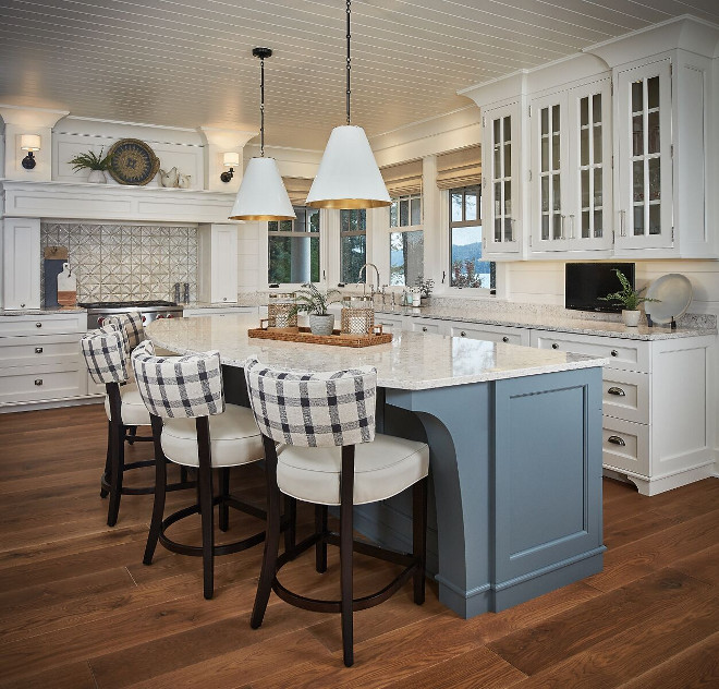 Blue Grey Kitchen Island. Gorgeous lakehouse kitchen with blue-gray kitchen island and T&G ceiling. Blue Grey Kitchen Island Paint Color. Blue Grey Kitchen Island #BlueGreyKitchenIsland Dwellings