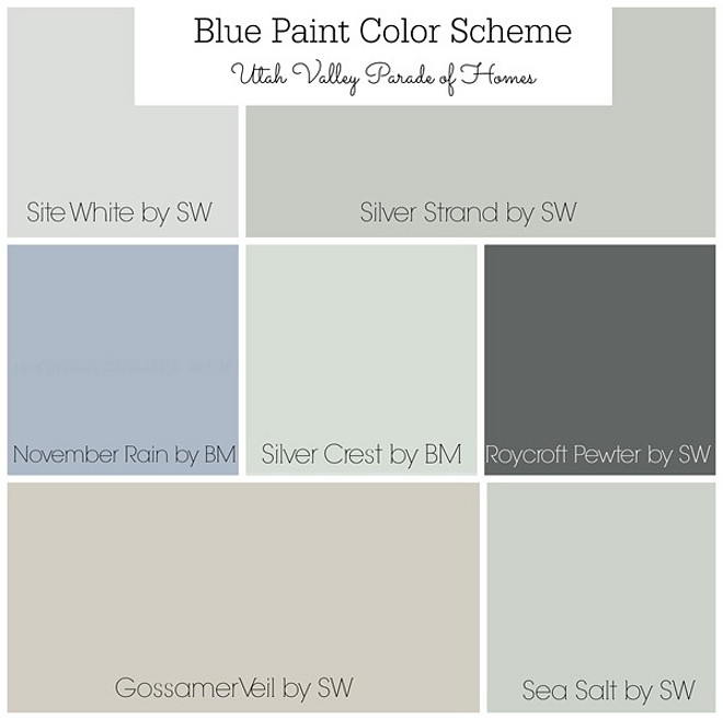 Blue Paint Color Scheme. Whole house painted in soft grays, Blue grays, soft blues and soft greens. Site White by Sherwin Williams, Silver Strand by Sherwin Williams, Novermber Rain by Sherwin Williams, Silver Crest by Sherwin Williams, Roycroft Pewter by Sherwin Williams, Gossamer Veil by Sherwin Williams. Sea Salt by Sherwin Williams Whole House Blue and Grey Color Scheme. Whole house color scheme. #BluePaintColorScheme #WholehousePaintColors #softgrays #Bluegrays #softblues #WholeHouseColorScheme #BlueandGreyColorScheme #ColorScheme Via Favorite Paint Colors Blog