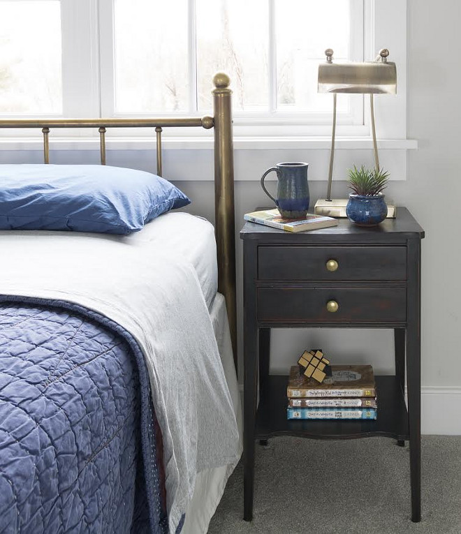 Boys Bedroom Nightstand Styling. Bedside Table: Vintage, I painted it w/ Annie Sloan Graphite Chalk Paint.  Boys Bedroom Nightstand Styling.  Boys Bedroom Nightstand Styling Ideas #BoysBedroom #NightstandStyling Beautiful Homes of Instagram @greensprucedesigns