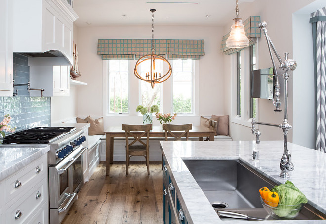 Carrara Marble Countertop, Kitchen Carrara Marble Countertop, The countertops are a Carrara marble in a polished finish #Kitchen #CarraraMarble #Countertop A.S.D. Interiors
