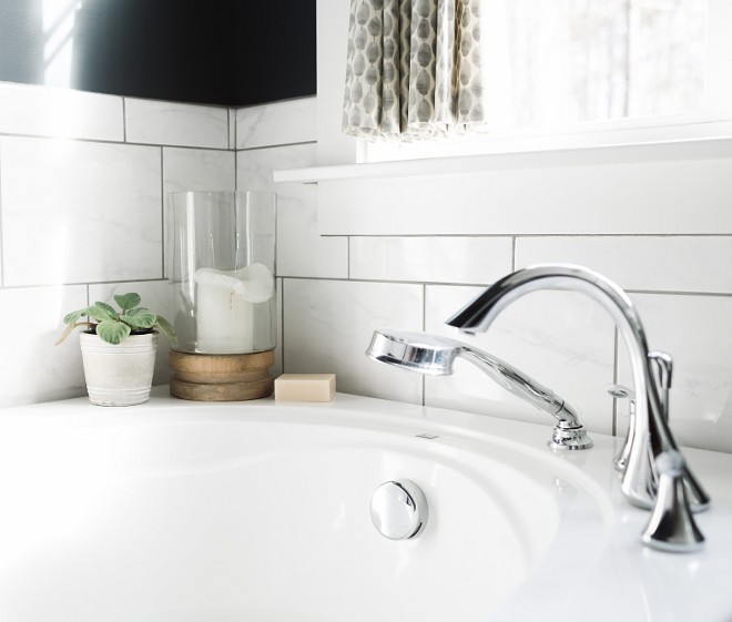 Chrome Bathroom Faucet, Moen Eva Collection in Chrome, Chrome bath faucet #MoenEva #Chrome #Chromefaucet Beautiful Homes of Instagram @thegraycottage