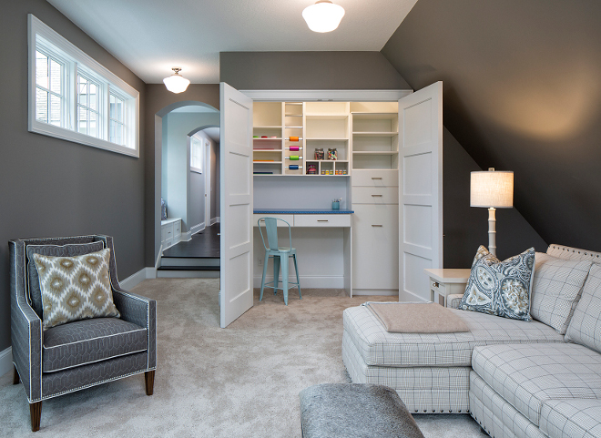 Closet craft room, Closet craft room in bonus room, The bonus room features a closet craft room. I think this is a brilliant idea! The wall color is Benjamin Moore 1476 Graystone, Wall paint color isBenjamin Moore 1476 Graystone #GraystoneBenjaminMoore #Craftroom #closet #bonusroom Grace Hill Design